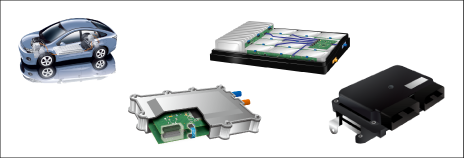 Drive system electrical components including automotive ECUs, inverters, DC/DC converters, battery packs, etc.