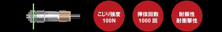 こじり強度100N、挿抜回数1000回、耐振性/耐衝撃性